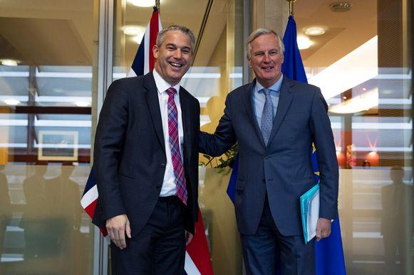 Brexitminister Stephen Barclay en Europees hoofdonderhandelaar Michel Barnier.