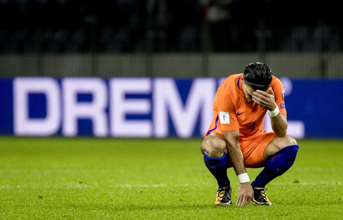 Karim Rekik van het Nederlands elftal na afloop van de WK kwalificatiewedstrijd Wit-Rusland tegen Nederland in de Borisov Arena.