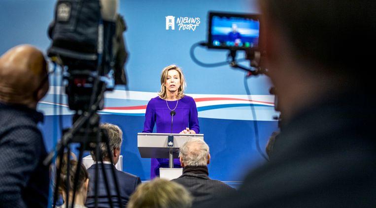 Den Haag - perscoferentie van vicepremiers D66'er Kajsa Ollongren in nieuwspoort. foto raymond rutting / de volkskrant Beeld raymond rutting