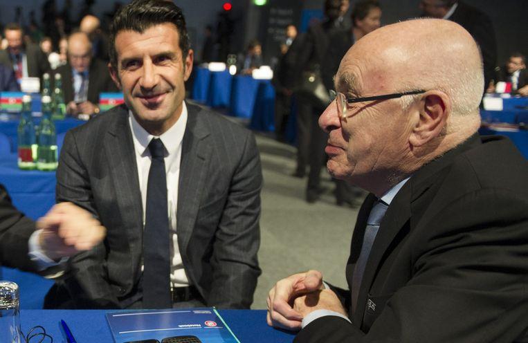 KNVB-voorzitter Michael van Praag en oud-voetballer Luis Figo trokken zich vorige week terug als kandidaten, Beeld ANP
