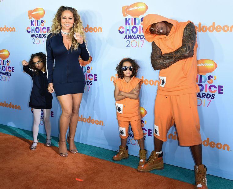 Mariah Carey met haar ex-man Nick Cannon en hun kinderen Monroe en Moroccan.