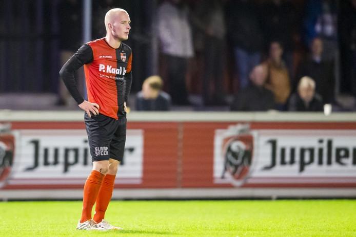 Nick de Bondt baalt na de nederlaag van De Treffers tegen Barendrecht.