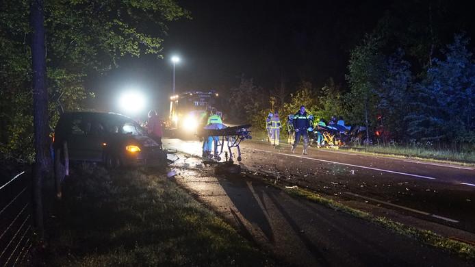 Een van de voertuigen schoot de bosjes in.