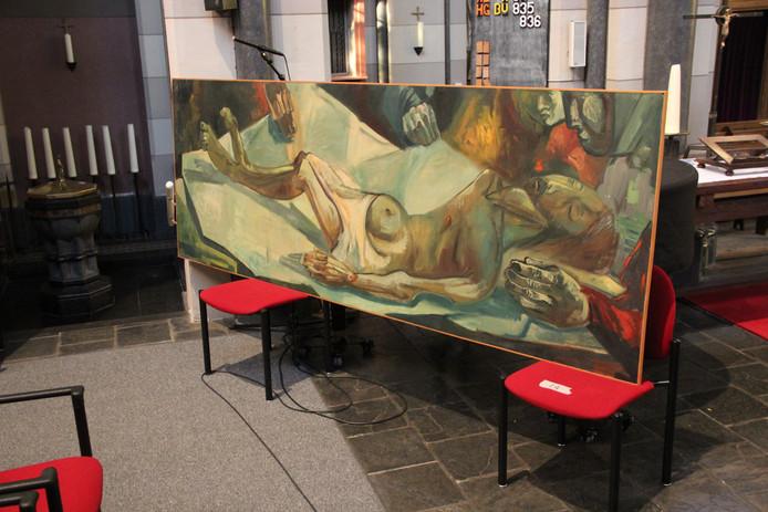 Het werk van Theo Forrer in de Sint Petruskerk in Leur: de dood van Christus.