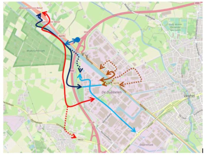 Het kaartje waarop de variant door Wijboschbroek in het rood staat aangegeven.