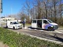 Grenscontrole op de N69 tussen Valkenswaard en Lommel (B).