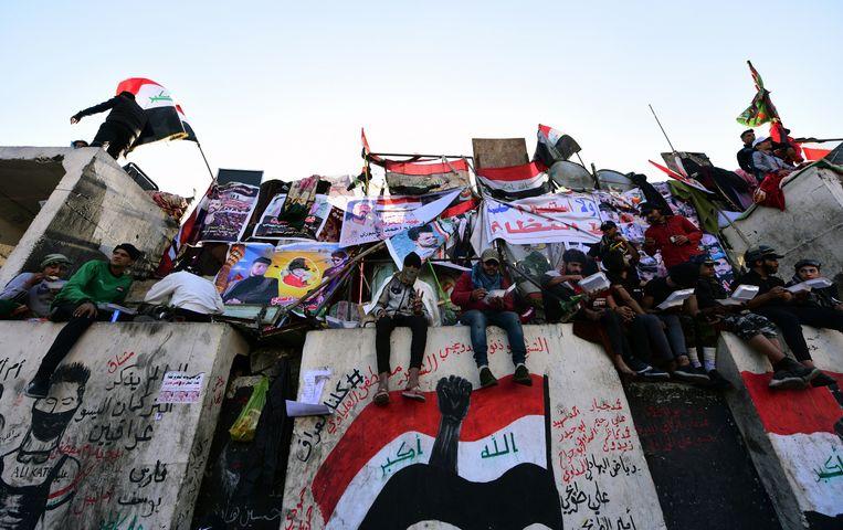 Irakezen protesteren in Baghdad vorige week. Beeld EPA