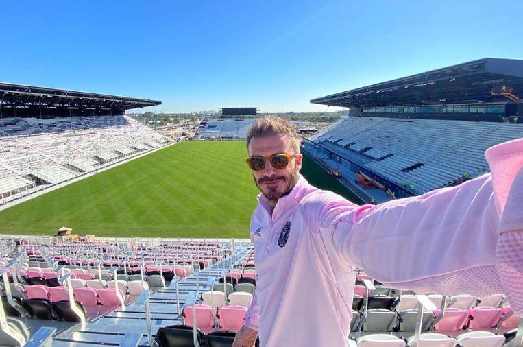 David Beckham in het Lockhart Stadium. Na twee jaar wil Inter Miami al verhuizen naar een nieuwe tempel.