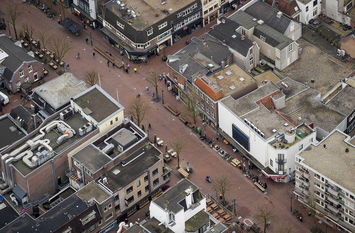 Een ongewoon rustig centrum van HIlversum, tijdens het begin van de coronacrisis.