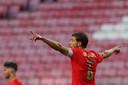 Rubén Dias, hier nog actief voor Benfica, viert na een doelpunt tegen Moreirense.