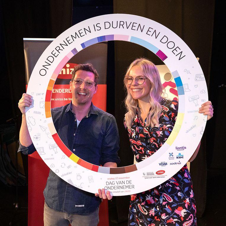 Dag van de Ondernemer in Denderleeuw - Gastsprekers van de avond waren Eline De Munck en Bob Geraets.