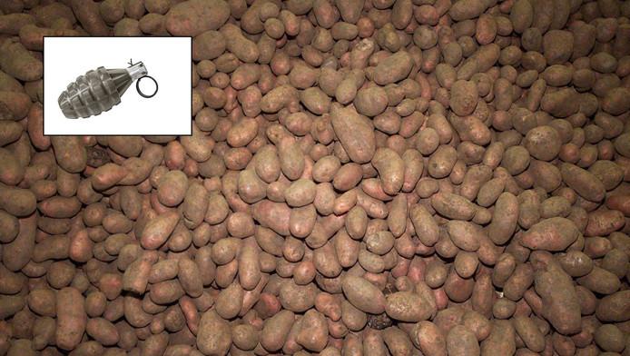In een aardappelveld in Oudenhoorn is tijdens het rooien een handgranaat gevonden.