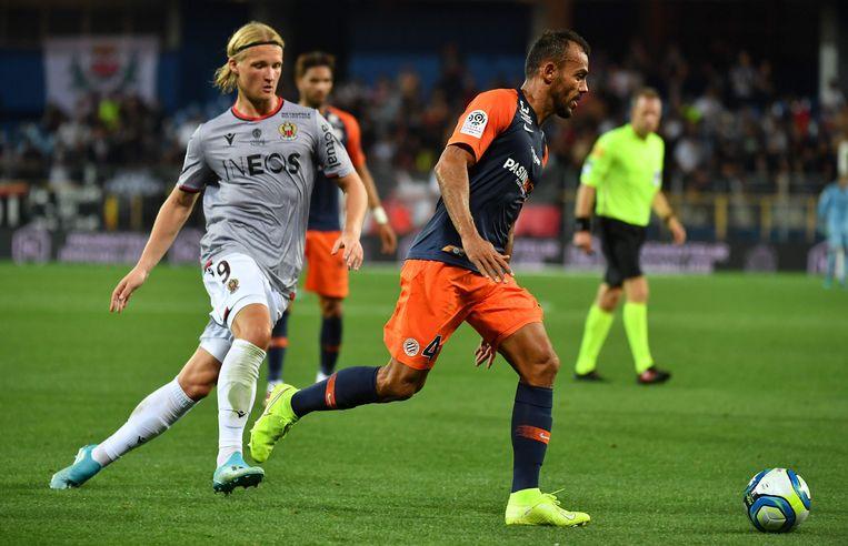 Kasper Dolberg (links) maakte vorig weekend zijn debuut voor Nice.