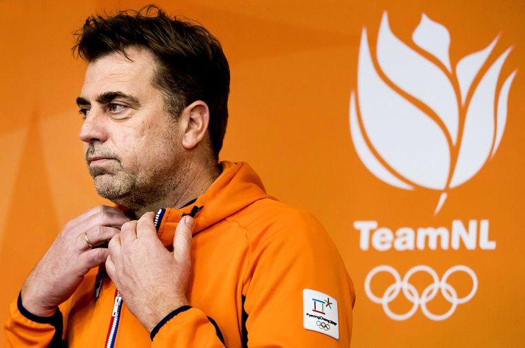 Jeroen Bijl in het Holland Heineken House tijdens de afsluitende persconferentie tijdens de Olympische Winterspelen van Pyeongchang. ANP JERRY LAMPEN Beeld null