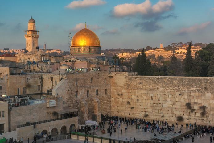 De Westmuur in de oude stad van Jeruzalem, ook wel bekend als de Klaagmuur.