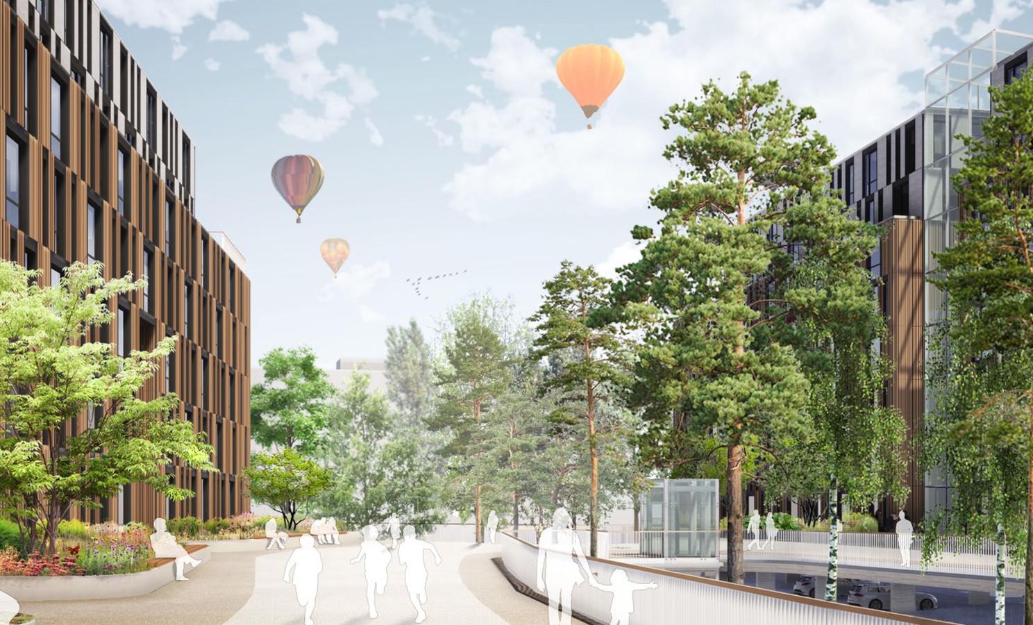 Een toekomstbeeld van de Breda City Campus op de hoek van Heerbaan en Claudius Prinsenlaan.