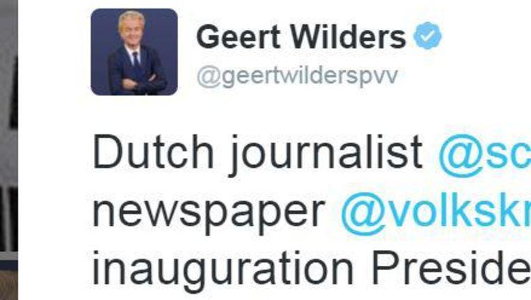 Tweet van Geert Wilders Beeld