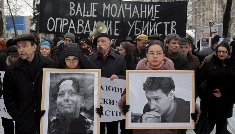 De advocaat Stanislav Markelov werd in januari van dit jaar op straat in Moskou doodgeschoten, samen met een vrouwelijke stagiaire van de Novaja Gazeta, die hem die dag toevallig vergezelde. Foto EPA Beeld