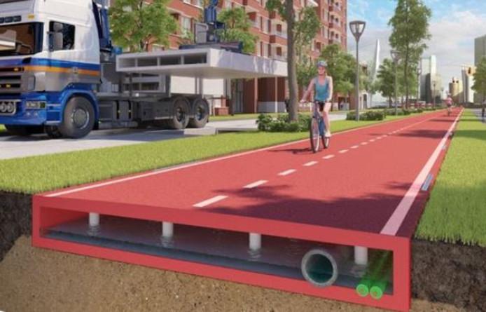 Grafische weergave van een plastic weg die in Zwolle komt te liggen.