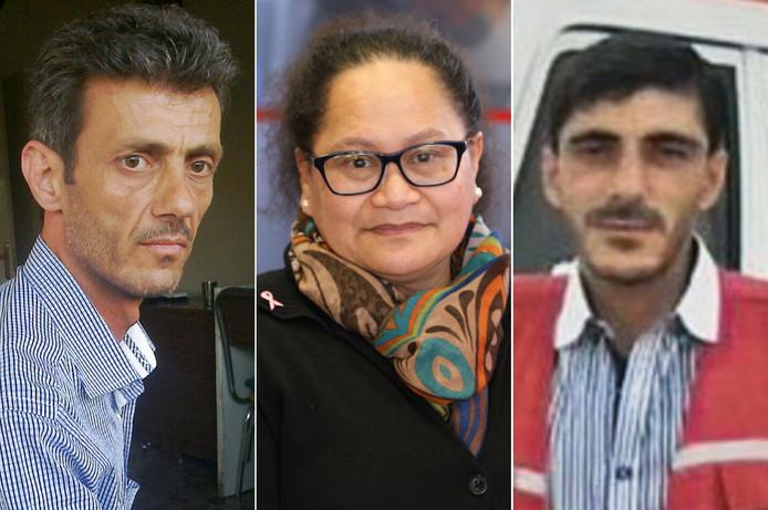 Alaa Rajab, Louisa Akavi  en Nabil Bakdoune. De Syriërs waren de chauffeurs van het medisch konvooi dat in oktober 2013 werd overvallen, waarna de drie samen met vier anderen werden ontvoerd.