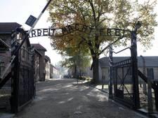 Naakte betogers slachten schaap aan toegangspoort Auschwitz