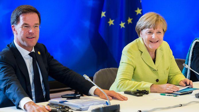 Premier Mark Rutte en bondskanselier Angela Merkel.