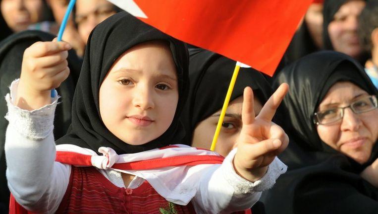 Ook vrouwen en kinderen nemen deel aan de anti-overheidsprotesten. Beeld epa