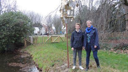 Jonge kunstenaar (17) stelt kunstwerk uit blikjes en ijzerdraad tentoon in Gemeentepark