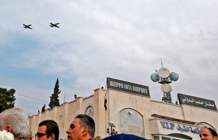 De luchthaven van Aleppo.