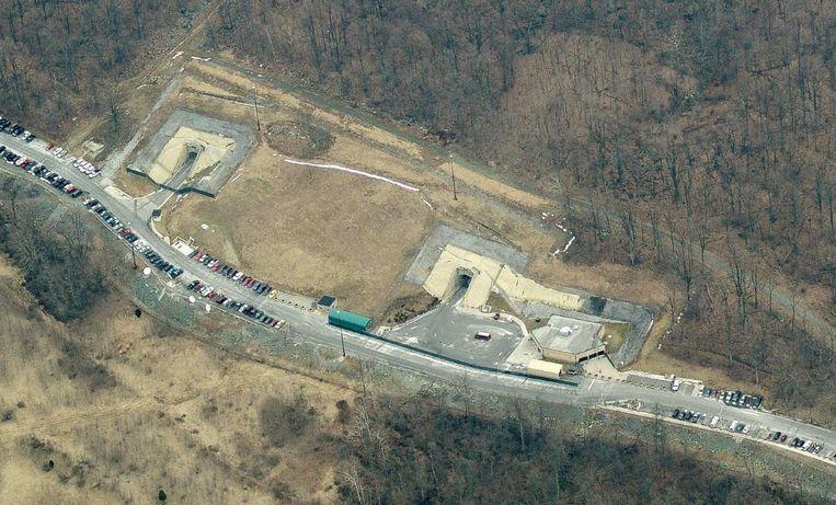 Een luchtbeeld van de plaats waar de bunker van Raven Rock ligt.