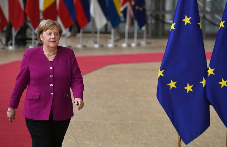 Angela Merkel bij aankomst op de Europese top in Brussel.