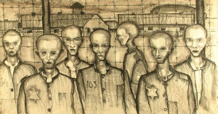 Kampgevangenen, tekening van Amersfoort Willem van Dam (1895-1964).