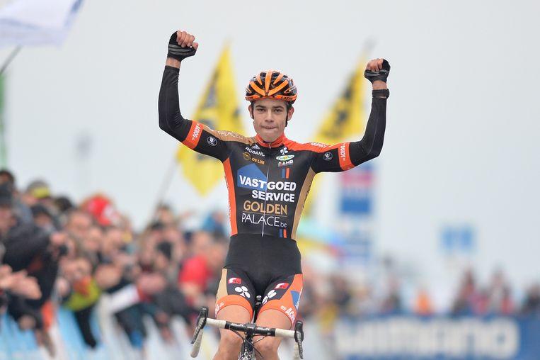 Wout van Aert wint in 2014 zijn eerste wereldbekermanche in Koksijde.
