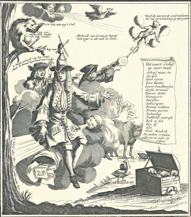 In deze spotprent op de beurscrisis van 1720 staat de 'windkramer' centraal, gezeten op een luchtstroom en met een windmolen op zijn hoofd. Wind is 't begin, wind is het end / Mijn kussen en mijn fondement, luiden de eerste regels van het bijgaande gedicht Beeld Archief Rijksmuseum
