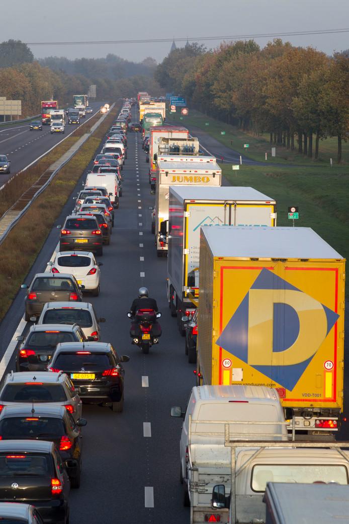 File op de A2 tussen Eindhoven en Weert. (archieffoto)