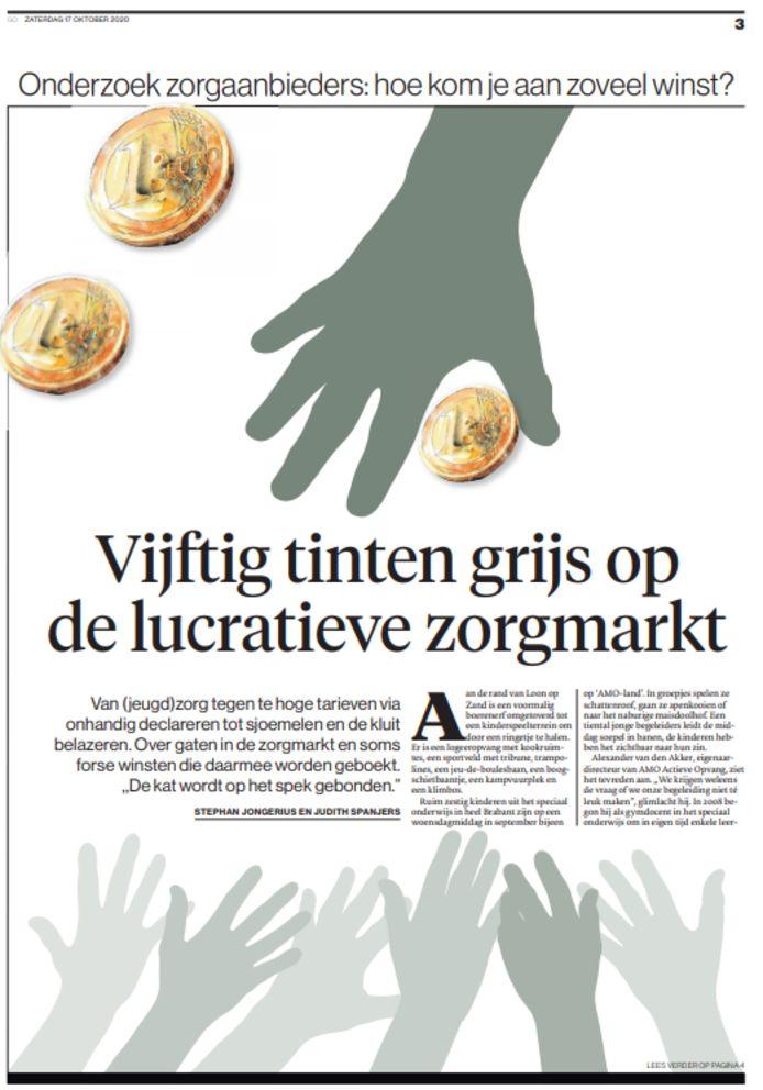 Publicatie van het zorgonderzoek door Follow the Money en het Brabants Dagblad in de krant van zaterdag