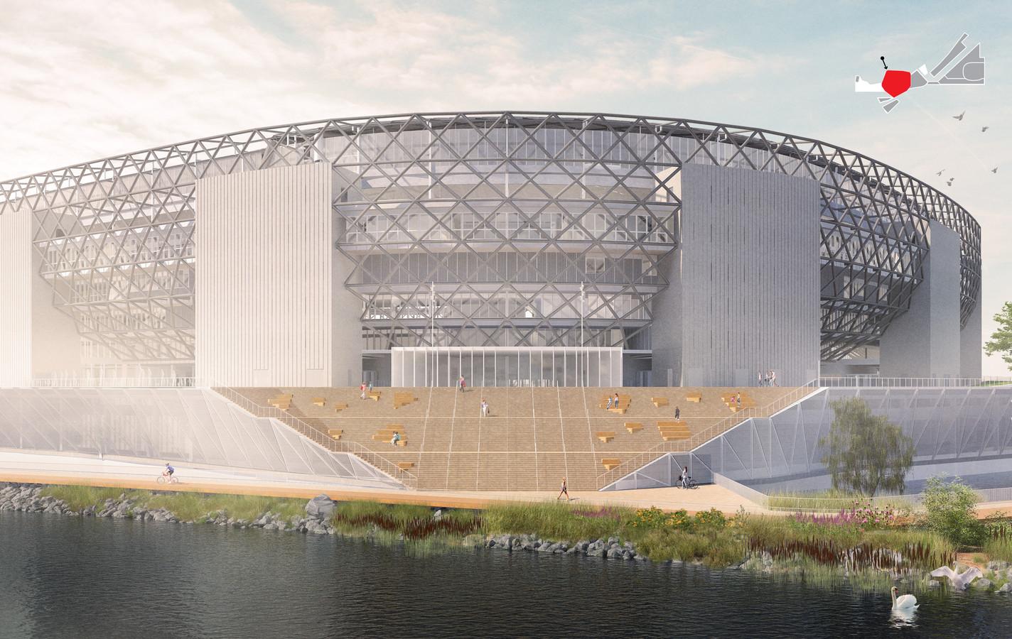 Nieuw stadion op de zuidoever van de Nieuwe Maas. Het complex staat voor eenderde in de rivier.