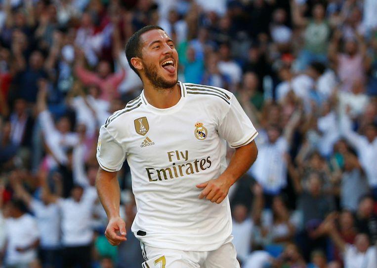 Eden Hazard scoorde in de eerste helft z'n eerste officiële goal voor Real Madrid.