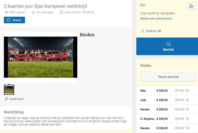 Kaartjes voor PSV - Ajax zijn populair.