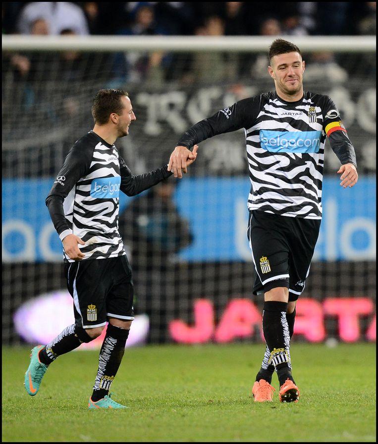 Guiseppe Rossini (rechts) maakte de 1-0 tegen Anderlecht in 2012. Danijel Milicevic gaf de assist.