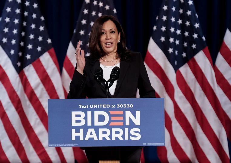 De Democratische kandidaat voor het vicepresidentschap Kamala Harris. Beeld AFP