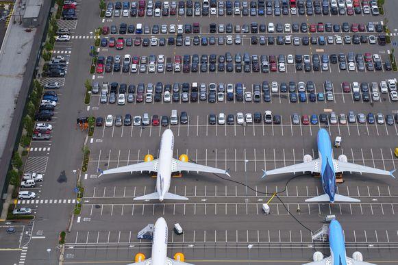 Boeing 737 MAX-toestellen geparkeerd in Seattle.