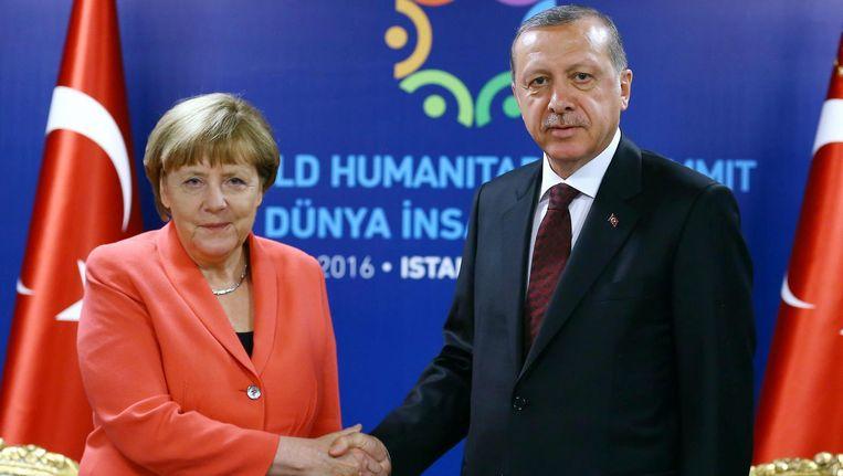 Duits bondskanselier Merkel en Turks president Erdogan tijdens een ontmoeting in mei.