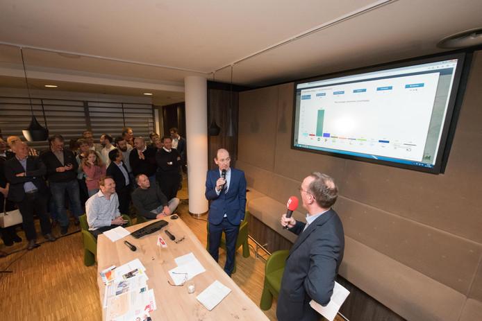 Burgemeester Sander Schelberg licht de uitslagen toe, onder leiding van Martin Ruesink (vooraan) van TC Tubantia.
