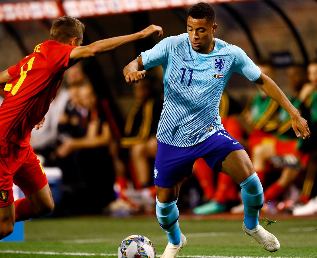 Arnaut Danjuma Groeneveld tijdens zijn interlanddebuut tegen België vorig jaar.
