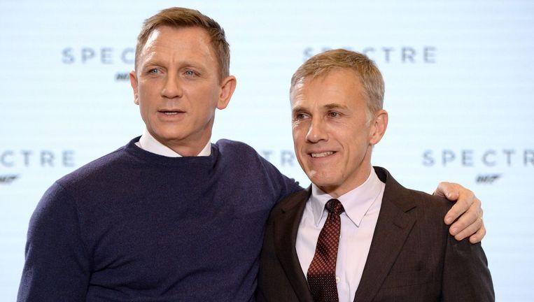 '007' Daniel Craig (links) en de Oostenrijkse acteur Christoph Waltz, de slechterik in Spectre.