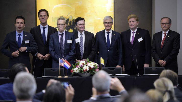 Gisteren was premier Rutte op handelsmissie in Atlanta. Beeld belga