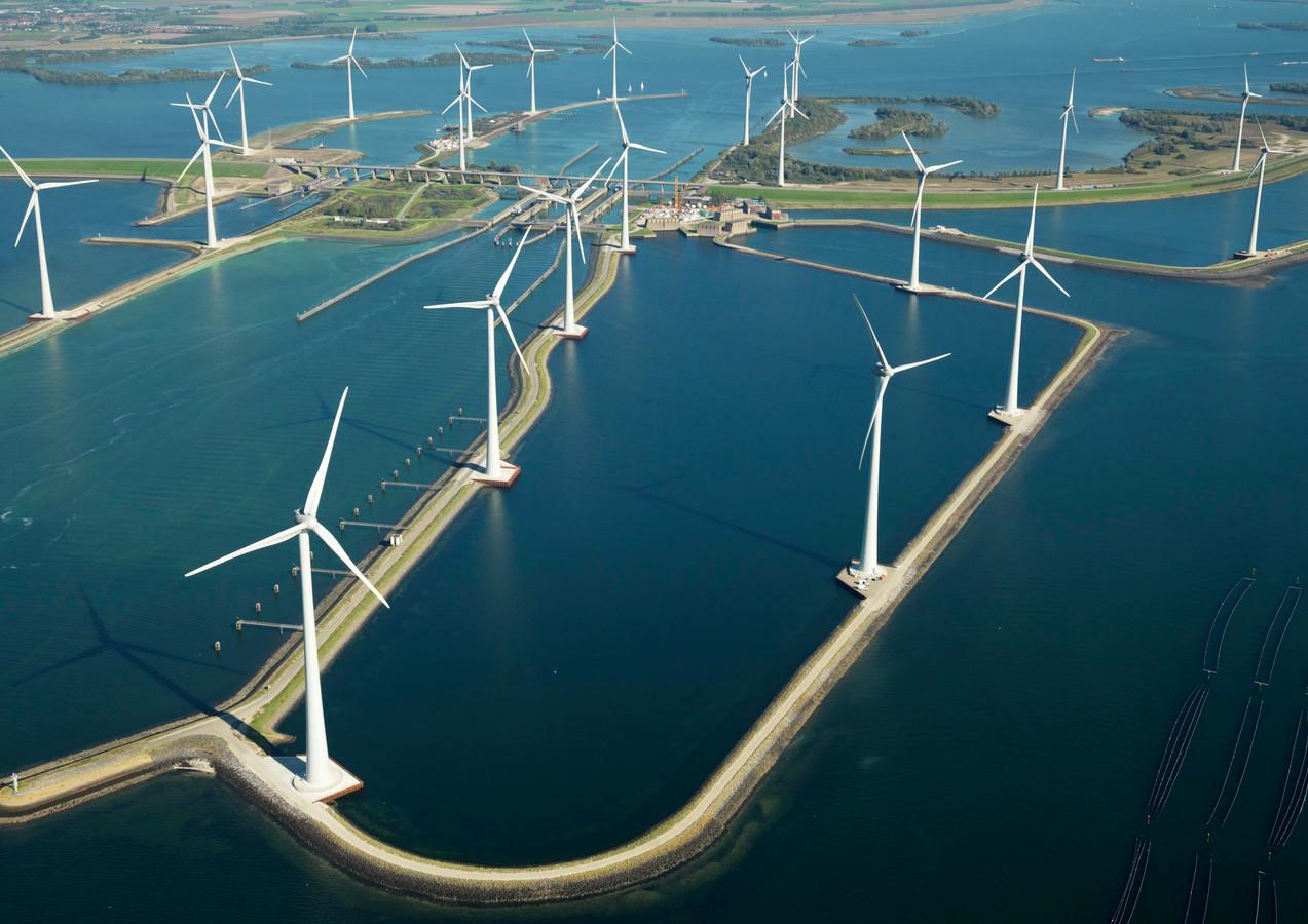 Windpark Krammer vanuit de lucht.