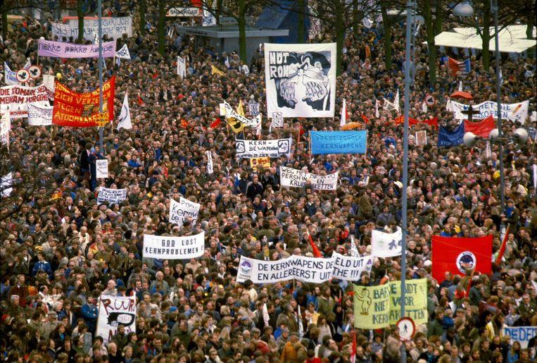 Demonstratie tegen kernwapens in Amsterdam, 1981. Beeld ANP