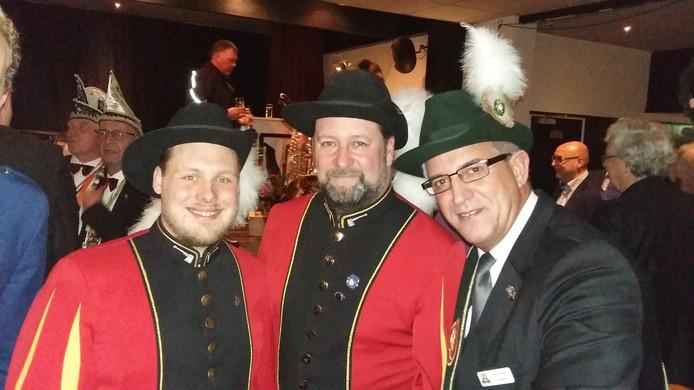 Leden van schutterij BUB uit Beek op de nieuwjaarsreceptie van Berg en Dal.
